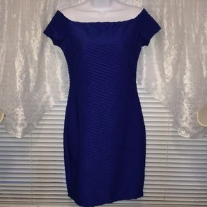 Brat Star Bodycon Fitted Texture Short Blue Dress